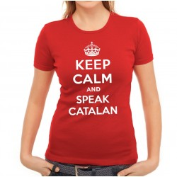 Samarreta noia vermella Keep Calm and speak catalan