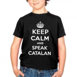 Samarreta negre 8 anys Keep Calm and speak catalan