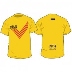 """Kit samarreta+motxilla """"ara és l'hora"""" Via Catalana 2014 GROC"""