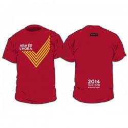 """Kit samarreta+motxilla """"ara és l'hora"""" Via Catalana 2014 vermell"""