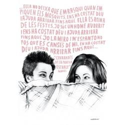 Postal amb il·lustració Corrandes de la parella estable - Manel