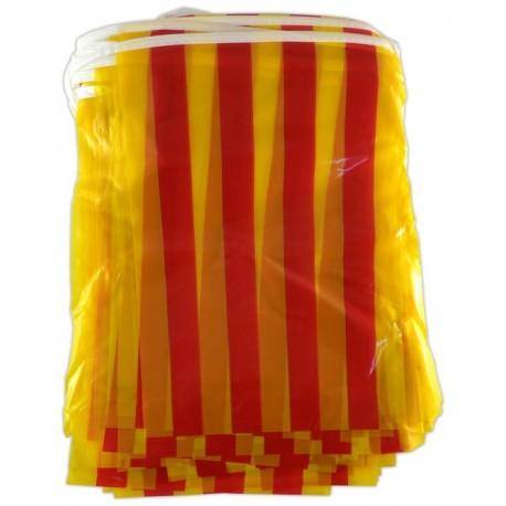 Tira 50m. de banderoles senyera plàstic