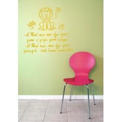 Vinil decoratiu infantil per a paret El lleó no em fa por