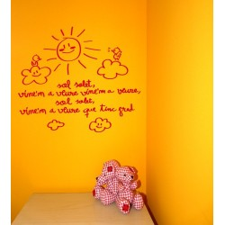 Vinil decoratiu infantil per a paret Sol solet vine'm a veure