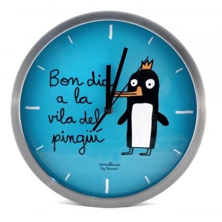 Rellotge paret Bon dia a la vila del pingüí