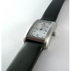 Rellotge noia rectangular acer i pell