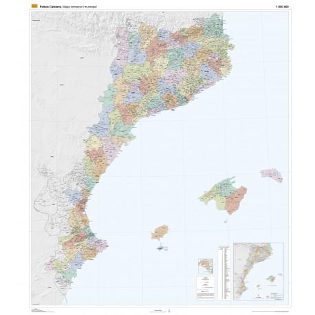 Mapa polític dels Països Catalans (comarques i poblacions) gran