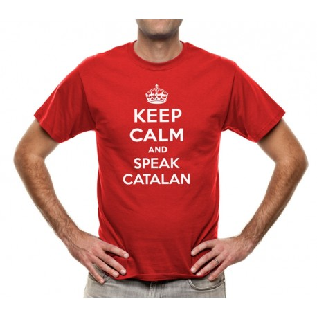 Samarreta vermell Keep Calm and speak catalan