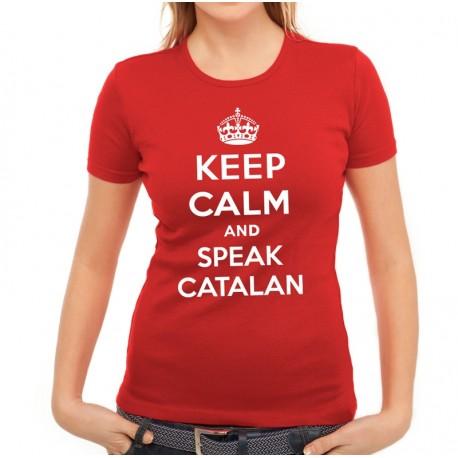 Samarreta noia vermella Keep Calm and speak catalan