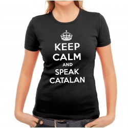 Samarreta noia negra Keep Calm and speak catalan
