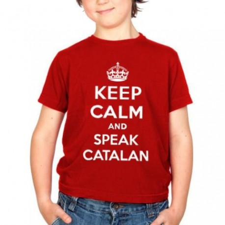 Samarreta vermell 8 anys Keep Calm and speak catalan