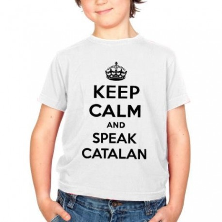 Samarreta blanca 8 anys Keep Calm and speak catalan