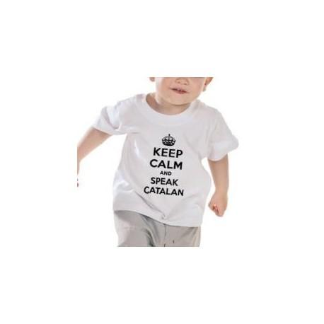 Samarreta blanca nadó 12-18 mesos Keep Calm and speak catalan