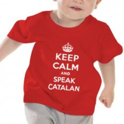 Samarreta vermella nadó 12-18 mesos Keep Calm and speak catalan