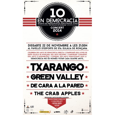 "Entrada concert ""10 en democràcia"" a Sta. Eulàlia de Ronçana"