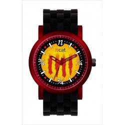 Rellotge home senyera negre i vermell