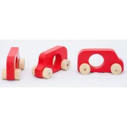 Kit tres cotxets de joguina de fusta