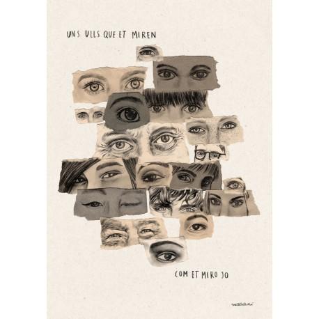 Postal amb il·lustració Mirada - Est Oest