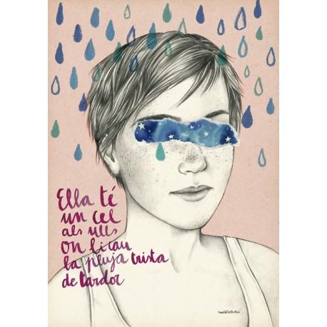 Postal amb il·lustració Ella té un cel als ulls - Roger Mas