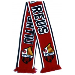 Bufanda CF Reus Deportiu vermell-negre amb bandes rallades