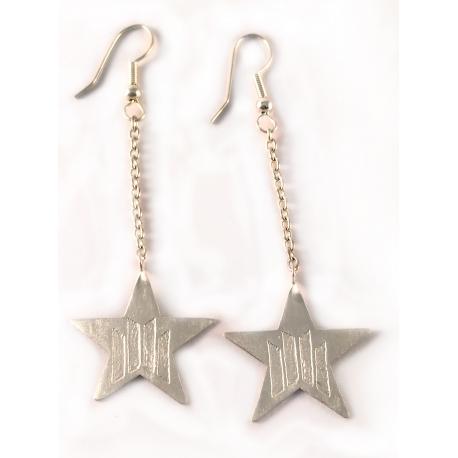 Arracades de plata llargeues estrella