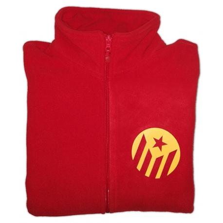 Jaqueta polar vermella estelada