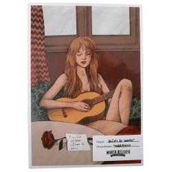 Postal amb il·lustració Músic de carrer - Txarango