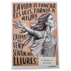 Postal amb il·lustració La vida sense tu - Obrint Pas