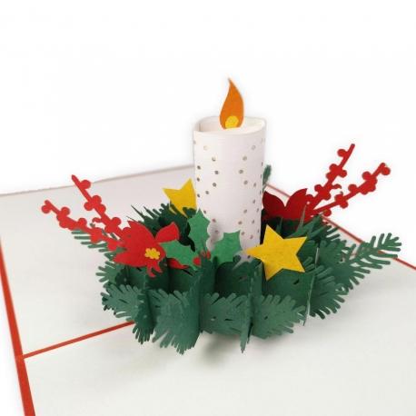 Postal amb relleu Espelma de Nadal