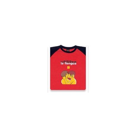 Samarreta bicolor vermell i negre Utilitza la llengua
